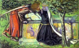 "Dante Gabriel Rossetti - Arthur's Tomb: The last meeting of Lancelot & Guinevere (aka ""No I mustn't because I'm virtuous and my denial of you will only make you stronger"")"