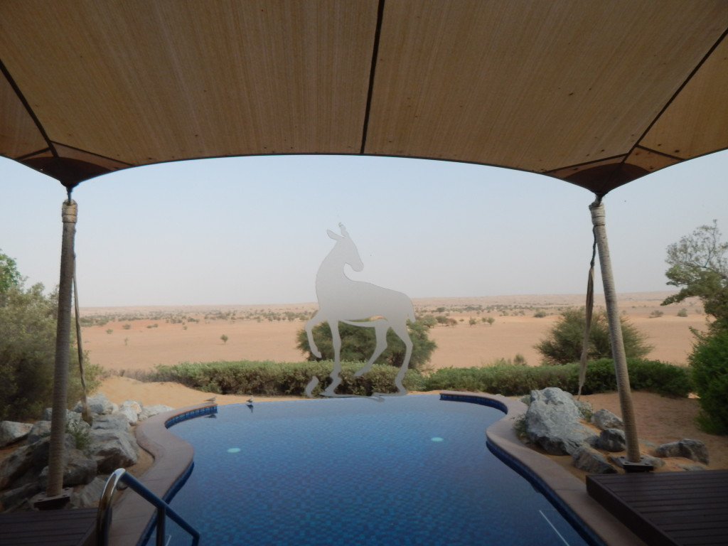 The etching on the doors to my deck is an Arabian Oryx (Al Maha)