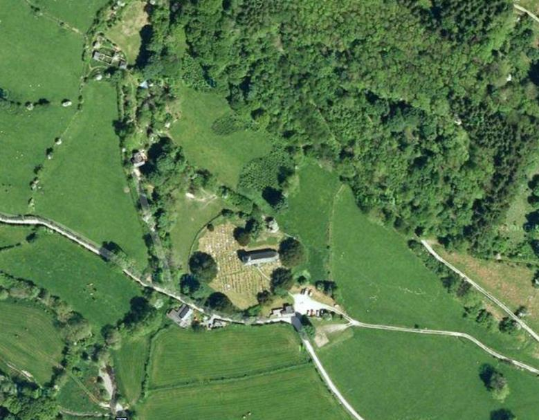 The beautiful Pennant Melangell is most striking from above where the veteran and ancient yew trees line the circular churchyard believed to be built above a pagan worship site. The trees outdate the church by a millennia.
